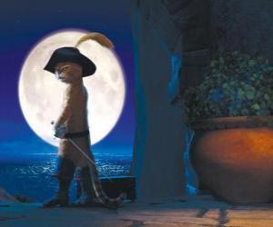 Puzzle de El Gato con Botas en una noche de luna llena