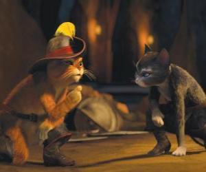 Puzzle de El Gato con Botas hablando con la gata Kitty