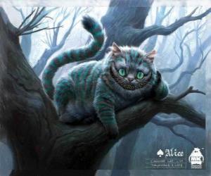 Puzzle de El Gato Risón descansando sobre la rama de un árbol