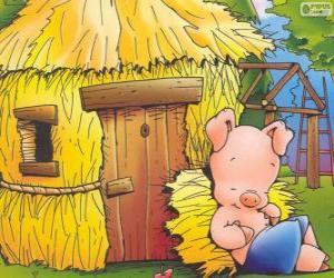 Puzzle de El hermano pequeño termina primero su casita de paja