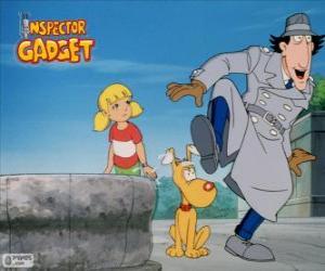 Puzzle de El Inspector Gadget con su sobrina Sophie o Penny y su perro Sultán o Cerebro