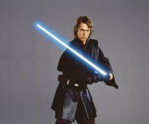 Puzzle de El joven Anakin Skywalker con su sable de luz