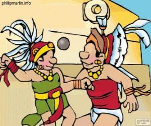 Puzzle de El juego de pelota era un ritual maya, la lucha de los jugadores para pasar la pelota por el aro de piedra