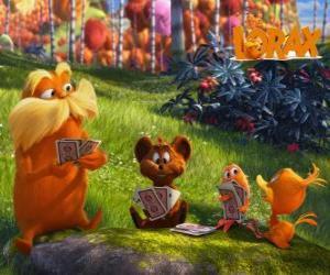Puzzle de El Lorax jugando con los animales del valle de Trúfula