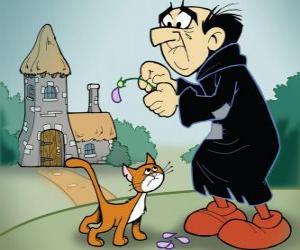 Puzzle de El malvado brujo Gargamel y su gato Azrael, los enemigos de los pitufos