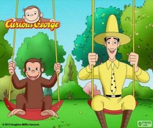 Puzzle de El mono Jorge con su amigo Ted, el hombre del sombrero amarillo