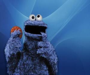 Puzzle de El Monstruo de las Galletas está comiendo una galleta