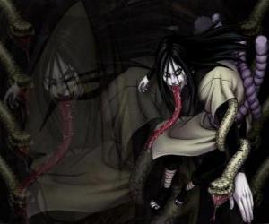 Puzzle de El ninja Orochimaru con las serpientes que forman parte de su cuerpo tras varias modificaciones