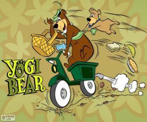 Puzzle de El oso Yogi y Bu-Bu en moto