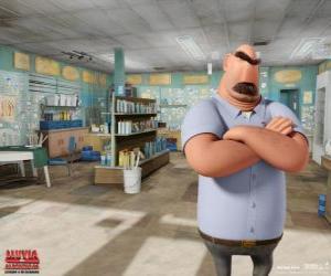 Puzzle de El padre de Flint, Tim en su tienda de pesca