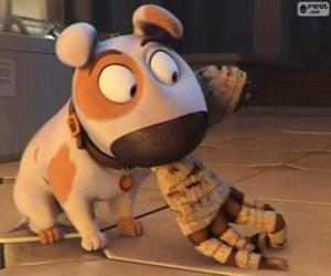 Puzzle de El perro Jeff con el brazo de una momia en la boca