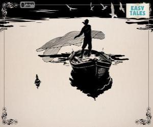 Puzzle de El pescador pescando con su vieja barca