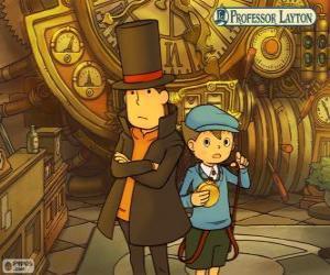 Puzzle de El Profesor Layton y su ayudante Luke Triton, protagonistas principales de los juegos de misterio y acertijos para Nintendo