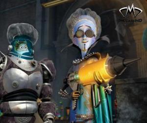 Puzzle de El protagonista principal, el malvado alien Megamind o Megamente con Minion, el pez sabio