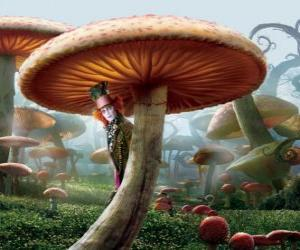 Puzzle de El Sombrerero Loco (Johnny Depp), escondido debajo de una seta