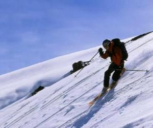 Puzzle de El Telemark es una técnica de esquí que nació en 1825, considerado padre del esquí moderno