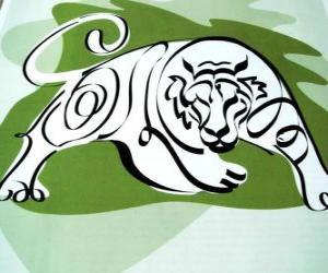 Puzzle de El tigre, signo del tigre, el Año del Tigre. El tercer signo de los doce animales del horóscopo chino