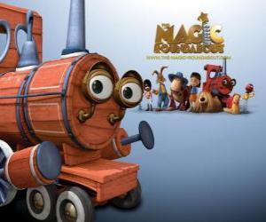 Puzzle de El tren, una de los juguetes mágicos en la película de Dougal, el Tiovivo Mágico