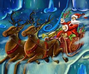 Puzzle de El trineo cargado de regalos volando con Papá Noel y los renos mágicos