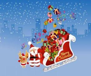 Puzzle de El trineo de Papá Noel lleno de regalos de Navidad