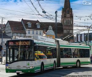 Puzzle de El Trolebús, es un ómnibus eléctrico