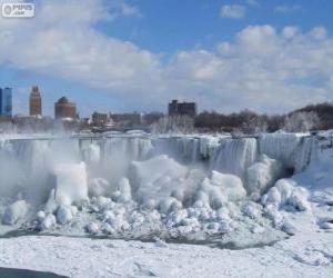 Puzzle de El vórtice polar congela las cataratas del Niágara