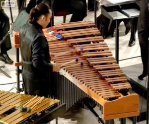 Puzzle de El vibráfono, es un instrumento musical de la familia de los idiófonos