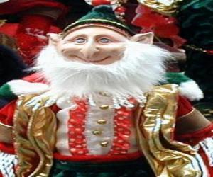 Puzzle de Elfo navideño con las orejas puntiagudas y el sombrero puntiagudo