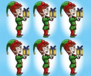 Puzzle de Elfo o duende de Navidad cargando con una caja de regalo