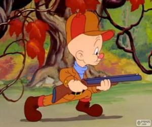 Puzzle de Elmer Gruñon, Elmer Fudd en inglés, el cazador que intenta cazar a Bugs Bunny