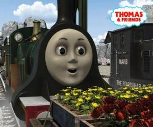 Puzzle de Emily, la locomotora verde esmeralda es el miembro más nuevo del equipo de las locomotoras a vapor