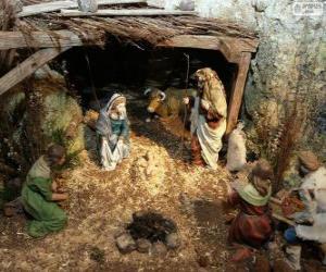 Puzzle de Escena del Nacimiento de Jesús en un establo cerca de Belén