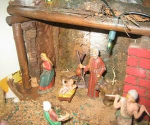 Puzzle de Escena principal del Pesebre con la Sagrada Familia en un establo