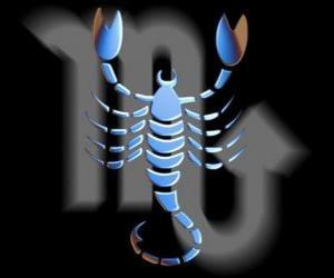 Puzzle de Escorpio. El escorpión. Octavo signo del zodíaco. Nombre en latín es Scorpius