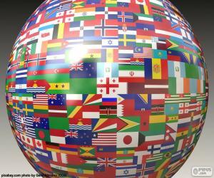 Puzzle de Esfera con banderas