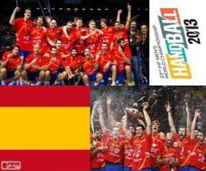 Puzzle de España medalla de Oro en el Mundial de Balonmano 2013