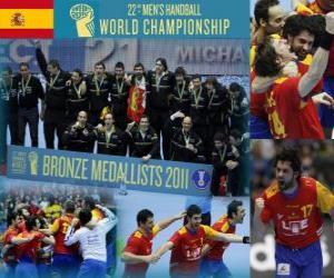 Puzzle de España medalla de Bronce en el Mundial de Balonmano 2011