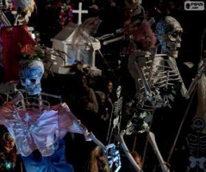 Puzzle de Esqueletos de Halloween