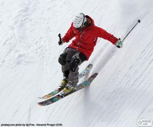 Puzzle de Esquiador descendiendo