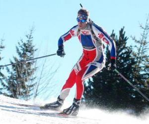Puzzle de Esquiador en pleno esfuerzo practicando el esquí de fondo o esquí nórdico