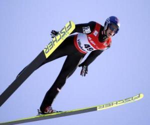 Puzzle de Esquiador en pleno vuelo de un salto desde trampolín