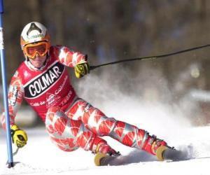 Puzzle de Esquiador en una competición de eslálom