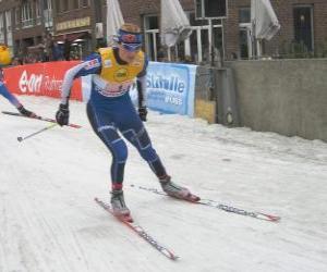 Puzzle de Esquiador practicando el esquí de fondo o esquí a campo traviesa