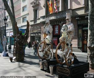 Puzzle de Estatuas humanas, Barcelona
