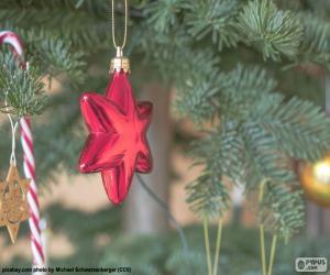 Puzzle de Estrella roja de Navidad