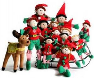 Puzzle de Familia de elfos con su reno