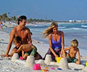 Puzzle de Familia en la playa