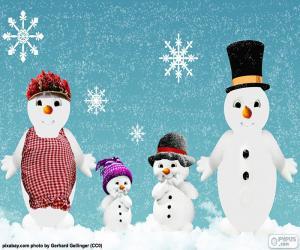 Puzzle de Familia muñecos de nieve