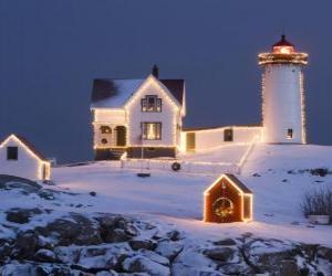 Puzzle de Faro y casa del farero con la decoración navideña