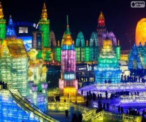 Puzzle de Festival de hielo de Harbin China